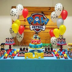 how to decorate candy bar paw patrol with balloons 4th Birthday Parties, 3rd Birthday, Birthday Ideas, Paw Patrol Birthday Theme, Paw Patrol Decorations, Paw Patrol Cake, Baby Party, First Birthdays, Mountain Hardwear