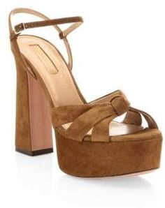 c80062a5622 Aquazzura Baba Suede Platform Sandals Black Platform Sandals
