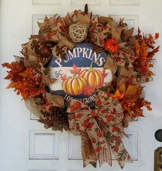 Stunning Locally Grown Pumpkins Fall/Autumn Wreath by JandJPrettyThings on Etsy