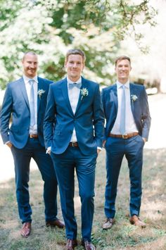 Dapper groom and his men in blue: http://www.stylemepretty.com/washington-weddings/langley-washington/2015/10/02/romantic-washington-island-wedding/ | Photography:  Blue Rose Pictures - bluerosepictures.com