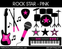 Girl Rock Star Clipart - Digital Clip Art Graphics for Personal or Commercial Use