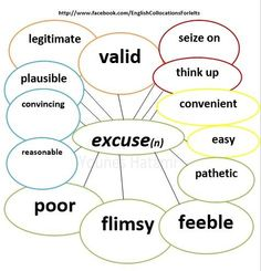 Collocations with the noun 'excuse'.