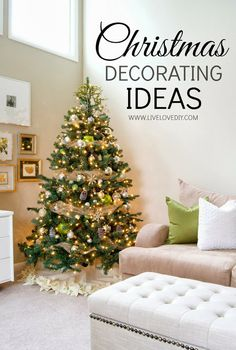 Christmas decorating ideas that you can make yourself! This post is full of DIY ideas for any budget and any skill level! Ornaments, wreaths, tree skirts, and more!
