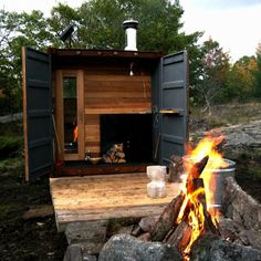 Castor Sauna Box: Remodelista Portable Sauna can be installed any where.. built into a shipping container.