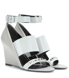 Graue Wedge-Sandalen aus Leder By Balenciaga