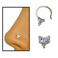 14KT Yellow Gold Nose Screw Ring White Gold Trinity Genuine Diamond FG/SI 20G FREE Nose Ring Backing NRB. $198.00