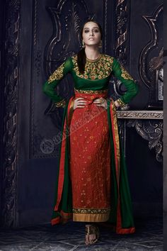 Maroon Vert Georgette Ensemble Churidar Avec Vert Shantoon Dupatta Conception No- DMV13069 Prix- 107,23  Type de robe- Trouser Suits Tissue- Georgette  Colour- Maroon Vert Emblishment:- brode, Resham, Pierre, Zari @http://www.andaazfashion.fr/maroon-green-georgette-churidar-suit-with-green-shantoon-dupatta-dmv13069-1.html