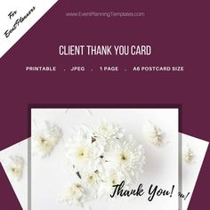 Excited to share the latest addition to my #etsy shop: Thank You Card for Clients for Event and Wedding Planners. Printable Template. JPEG and PDF Versions included. http://etsy.me/2nZXD27 #everythingelse #graphicdesign #white #eventplanner #weddingplanner #eventplanni