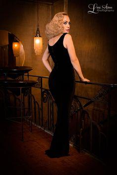 The Laura Byrnes Gilda Gown in Black Velvet