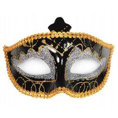 Máscara Negra, Oro y Plata  Muy Polichinela ... ... resultarás intrigante y glamourosa ... una máscara en color negro y dorado con matices en purpurina plateada, esta máscara conseguirá que tus fiestas de carnaval, disfraces ... sean aun más emocionantes!!