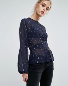 Pepe Jeans Louise Ruched Waist Printed Blouse - Navy