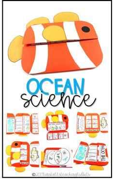 ocean science interactive science book for kindergarten, first grade, second grade, ocean science, ocean unit Kindergarten Science, Elementary Science, Teaching Science, Preschool, Science Classroom, Science Education, Teaching Ideas, Classroom Ideas, Science Books