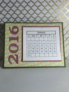 2016 Mini Calendar by JeisPaper on Etsy