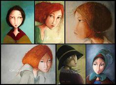 effielada_prosopa Illustrators, Mona Lisa, Cartoon, Artwork, Painting, Women, Work Of Art, Auguste Rodin Artwork, Painting Art