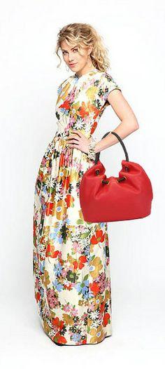 Michael Kors Large Marina Metallic Canvas Shoulder Tote Bag Red