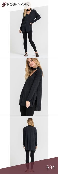 Charlie Coker Long Sleeve Top - Black Comfortably casual and flowy for your Fall and Winter outfits. Make an edgy statement with the choker neckline, long sleeves, side slits and loose fit.  Model is wearing a Small. (Also available in Burgundy and Moss)  77% RAYON 18% POLYESTER 5% SPANDEX . . . If you would like to make an offer, please use the OFFER BUTTON. {10% discount on all 2+ orders} . . FOLLOW US✌🏽️ Insta 📸: @likenarly Facebook📱: likenarly Website 🌐: likeNarly.com likeNarly Tops