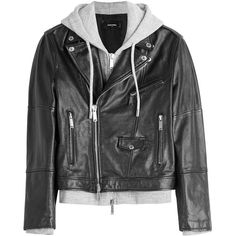 Dsquared2 Leather Biker Jacket ($1,640) ❤ liked on Polyvore featuring men's fashion, men's clothing, men's outerwear, men's jackets, jackets, coats & jackets, black, mens leather biker jacket, mens leather motorcycle jacket and mens leather jackets