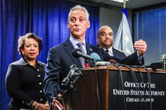 From left to right: U.S. attorney general Loretta Lynch, Chicago Mayor Rahm Emanuel, and Chicago police superintendent Eddie Johnson at a news conference earlier today at the Dirksen Federal Building. By Tannen Maury/EPA/Rex/Shutterstock