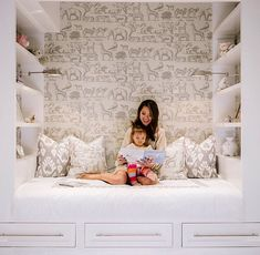 built-in shelving and bed