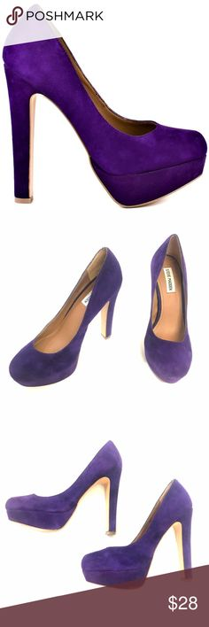 STEVE MADDEN BEASST HEELS Purple and fierce. Preloved and well taken care of. No marks, scuffs, or rips. These picture perfect heels will take any party dress up a notch. Steve Madden's Beasst style brings you a vibrant purple suede upper complete with a 1 inch closed toe platform and a 5 inch sturdy heel.  Shoe Details:  Leather Upper Man Made Sole Made In China This shoe fits true to size. Steve Madden Shoes Heels