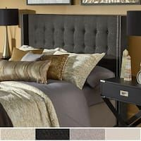 Marion Nailhead Wingback Button Tufted Headboard by iNSPIRE Q Bold (Queen Dark Grey Linen Headboard), Gray Linen Headboard, Velvet Headboard, Wingback Headboard, Tufted Headboards, Upholstered Platform Bed, Upholstered Beds, Bedroom Furniture Stores, Furniture Deals, Online Furniture
