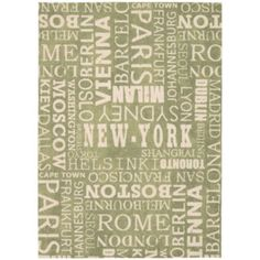 """<p>Pick your favorite city with these fun indoor/outdoor rugs featuring top destinations.</p><div style=""""page-break-after: always"""