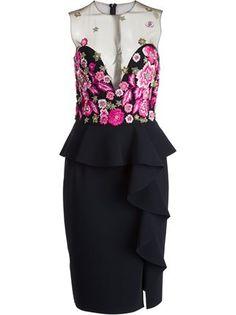 Marchesa Notte Kleid mit Blumenstickereien