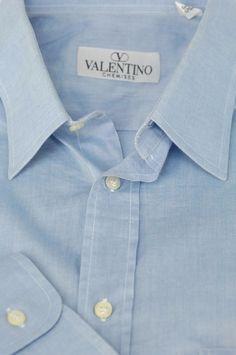 Valentino $395 Light Blue Luxury Cotton Casual Shirt 16.5 x 35 #Valentino
