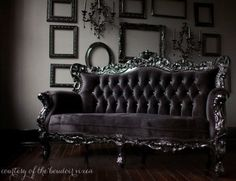 Black Gothic Home Decor Tufted Style Sofa On Laminate Floor In Grey Paint  Wall Some Frame Panel With Sweet Bedroom