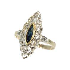 Sapphire Diamond Elongated Ring - Belle Epoque Art Deco engagement ring c.1920 blue navette cut sapphire rose cut diamonds 18K yellow gold by adinantiquejewellery on Etsy https://www.etsy.com/listing/248924856/sapphire-diamond-elongated-ring-belle