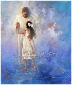 A young girl dances on water with Jesus
