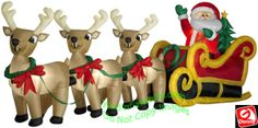 Gemmy Airblown Inflatable Santa and tree in Sleigh Pulled by 3 Reindeer Santa in Sleigh Pulled by 3 Reindeer Your Price: $209.99 On sale: $199.98 On Sale