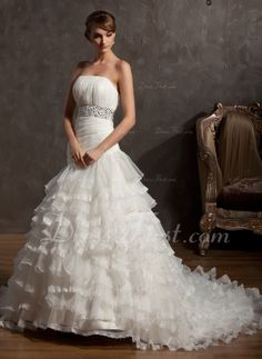 Ball-Gown Strapless Chapel Train Organza Wedding Dress With Beading Cascading Ruffles Affordable Wedding Dresses, Wedding Dresses For Sale, Wedding Party Dresses, Lace Wedding Dress, Gorgeous Wedding Dress, One Shoulder Wedding Dress, Ball Dresses, Ball Gowns, Special Occasion Dresses