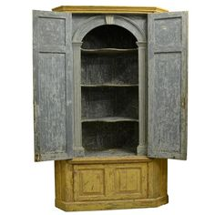 Georgian Painted Standing Corner Cupboard, English, circa 1740 | From a unique collection of antique and modern corner cupboards at https://www.1stdibs.com/furniture/storage-case-pieces/corner-cupboards/