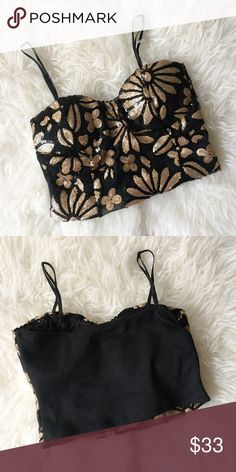 Codigo Spaghetti Strap Sequin Crop Top Size Small This Sequin top can easily go from day to night. There are sequins covering the front and is cloth on the back. Size is small. 100% Polyester. Hand wash cold. Do not bleach. Codigo Tops Crop Tops