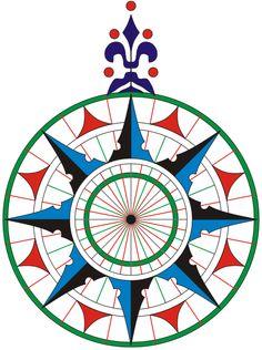 Copia de la rosa de los vientos de la carta náutica de 1504, del navegante portugués Pedro Reinel. Es la primera rosa de los vientos conocida que representa claramente la flor de lis como símbolo del Norte.