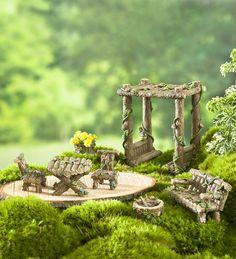 Miniature Fairy Garden Furniture, 7-Piece Set | Miniature Fairy Gardens