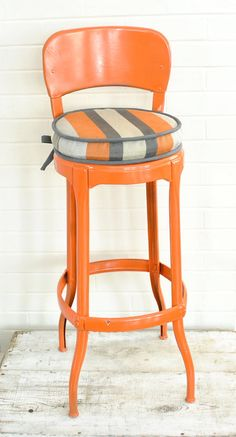Hey, I found this really awesome Etsy listing at https://www.etsy.com/listing/181552225/orange-vintage-industrial-stool-with
