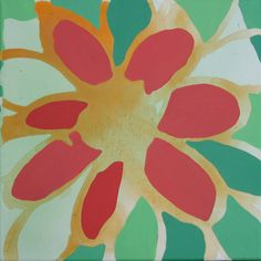 12 x 12 Poured Acrylic Original Painting - 1 Large Flower in Reds and Greens. via Etsy.