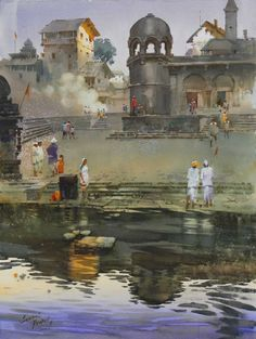 Kai Fine Art is an art website, shows painting and illustration works all over the world. Watercolor Landscape Paintings, Watercolor Artwork, Watercolor Artists, Gouache Painting, Watercolor Tips, Om Namah Shivaya, Indian Artist, City Landscape, Landscape Pictures