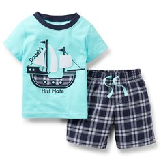 """Carter's Boys 2 Piece 'Daddy's First Mate' Pirate Ship Short Sleeve T Shirt and Plaid Short Set - Toddler - Carters - Babies""""R""""Us Little Boy Outfits, Baby Boy Outfits, Carters Baby Boys, Toddler Boys, Infant Boys, Kids Boys, Outfits Niños, Kids Outfits, Summer Outfits"""