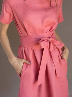 Dressed up for work with a jacket, or thrown on with a pair of pumps, this dress will see you through all seasons and all situations. Cut from pu Dress For Summer, Summer Dresses, Kaftan, Wrap Dress, Dress Up, Linen Tunic, Striped Linen, Linen Dresses, Boho