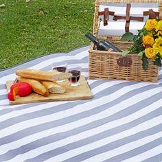Grey and White Stripe Picnic Blanket