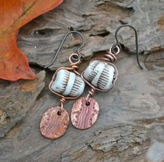 Double Snakeskin Porcelain Tubes and Copper by KristiBowmanDesign, $29.00
