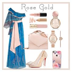 """rose gold"" by priyaarun ❤ liked on Polyvore featuring Zandra Rhodes, Christian Louboutin, RALPH & RUSSO, Casetify, Michael Kors, Smith & Cult, Bulgari and MAC Cosmetics"