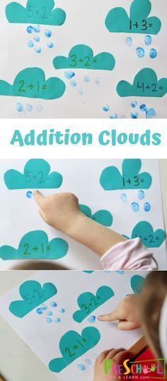 Addition Clouds - Spring Math Activities for Preschoolers