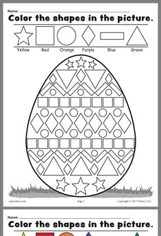 Easter Math Worksheets Kindergarten Easter Coloring Pages for Grade Easter Worksheets Nd Easter Worksheets, Shapes Worksheets, Kindergarten Worksheets, Printable Worksheets, Free Printable, Number Worksheets, Coloring Worksheets, Preschool Kindergarten, Easter Coloring Pages Printable