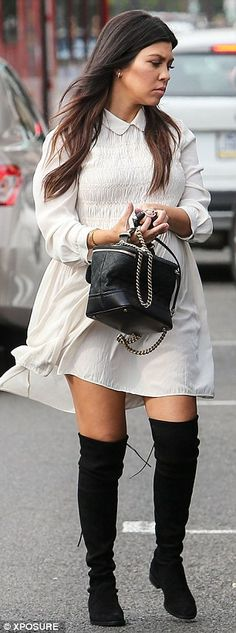 Monochrome magic: Kourtney showed she knows exactly how to dress while pregnant...