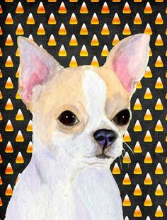 Chihuahua Candy Corn Halloween Portrait Flag Canvas House Size