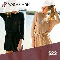 Tan Sweater Dress w/ waist tie Tan Sweater Dress w/ waist tie Tan true to size XL Dresses Mini